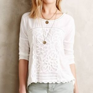 Anthropologie Meadow Rue Lace Scallop Blouse Top